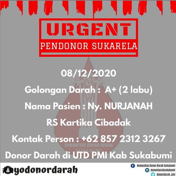 Butuh Segera! Pendonor untuk Golongan Darah A+ di Sukabumi